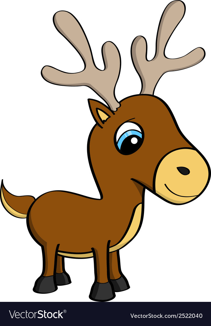 Cartoon of a cute little reindeer vector | Price: 1 Credit (USD $1)