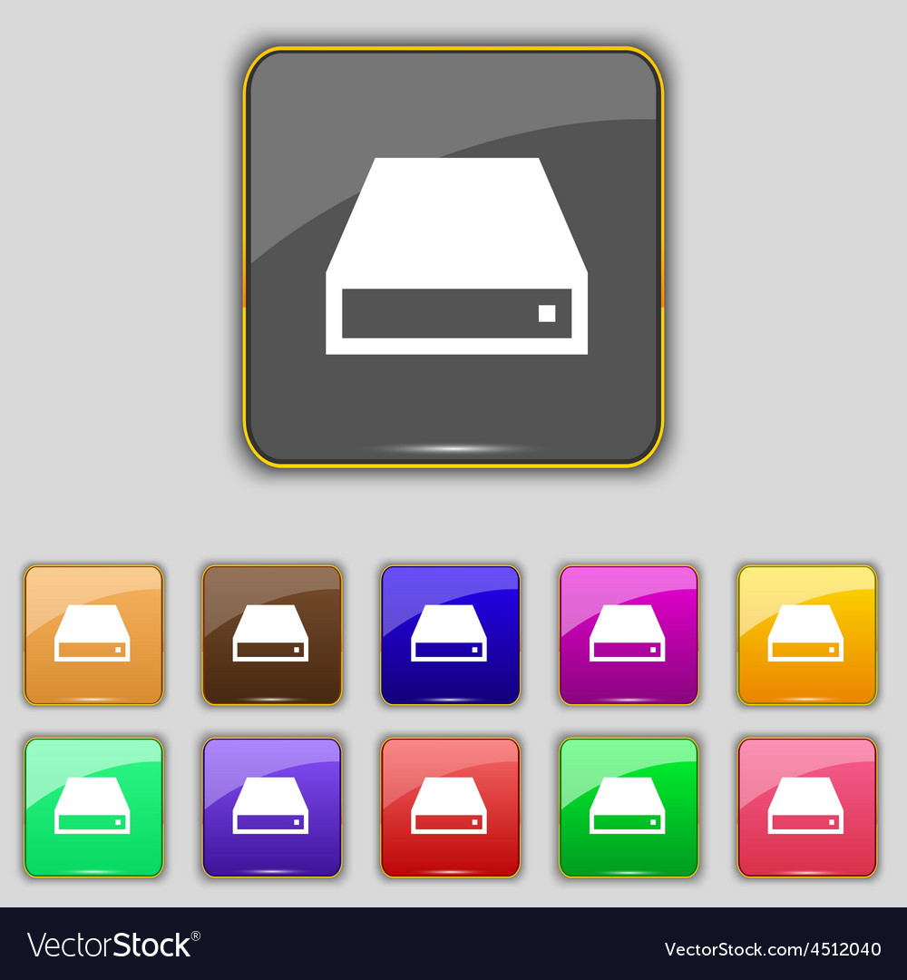 Cd-rom icon sign set with eleven colored buttons vector | Price: 1 Credit (USD $1)