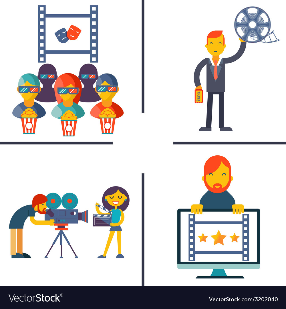 Cinema and movie flat concept set vector | Price: 1 Credit (USD $1)