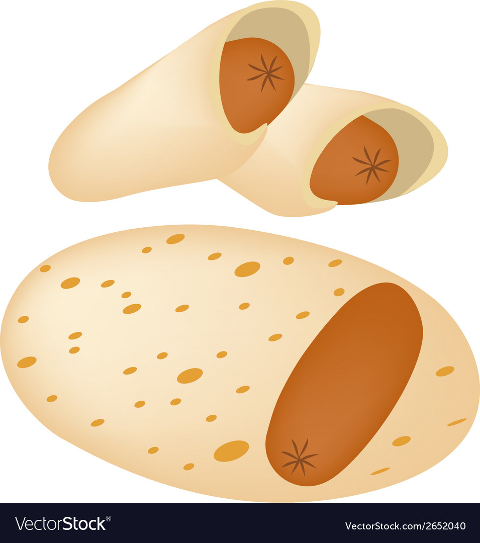 Delicious sausage pancake on a white plate vector | Price: 1 Credit (USD $1)