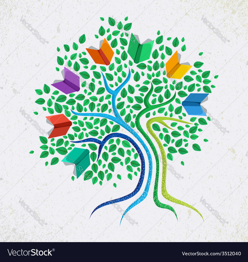 Education abstract concept tree book vector | Price: 1 Credit (USD $1)