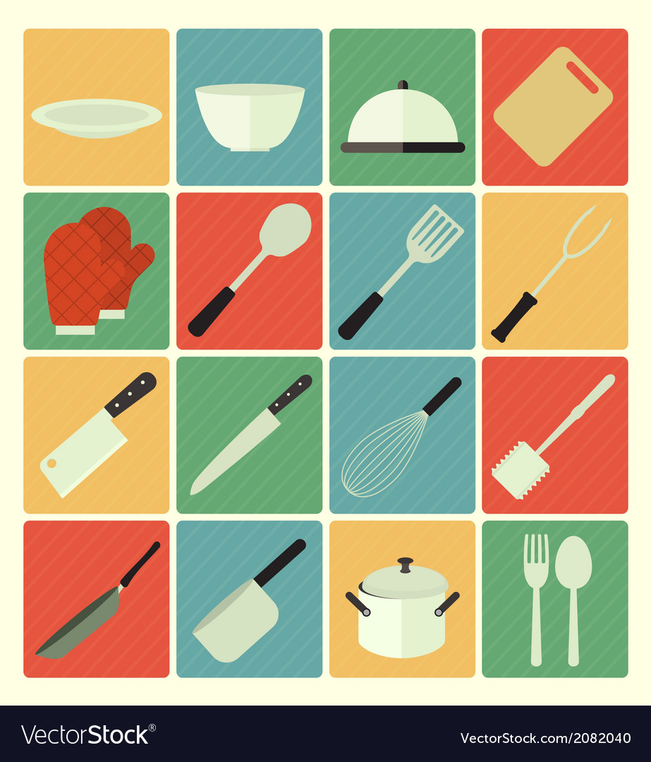 Flat icons kitchen vector | Price: 1 Credit (USD $1)