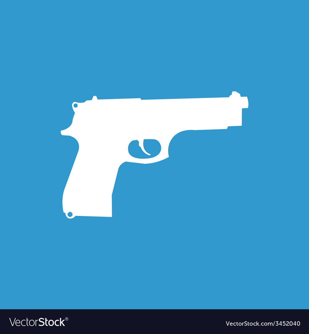 Gun icon white on the blue background vector | Price: 1 Credit (USD $1)