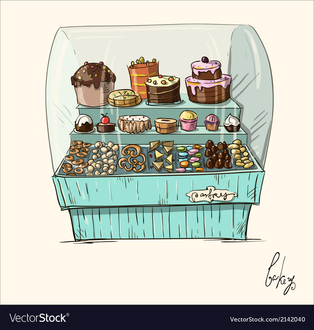 Hand drawn counter with bakery vector | Price: 1 Credit (USD $1)