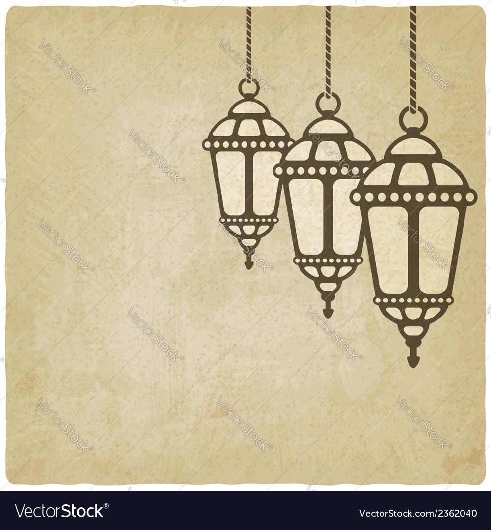 Ramadan lantern old background vector | Price: 1 Credit (USD $1)