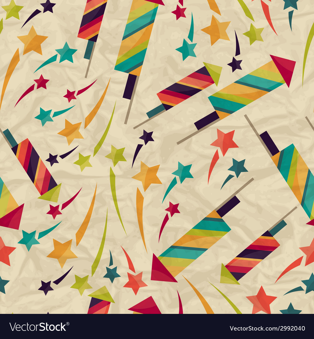 Seamless pattern with fireworks on crumpled paper vector | Price: 1 Credit (USD $1)