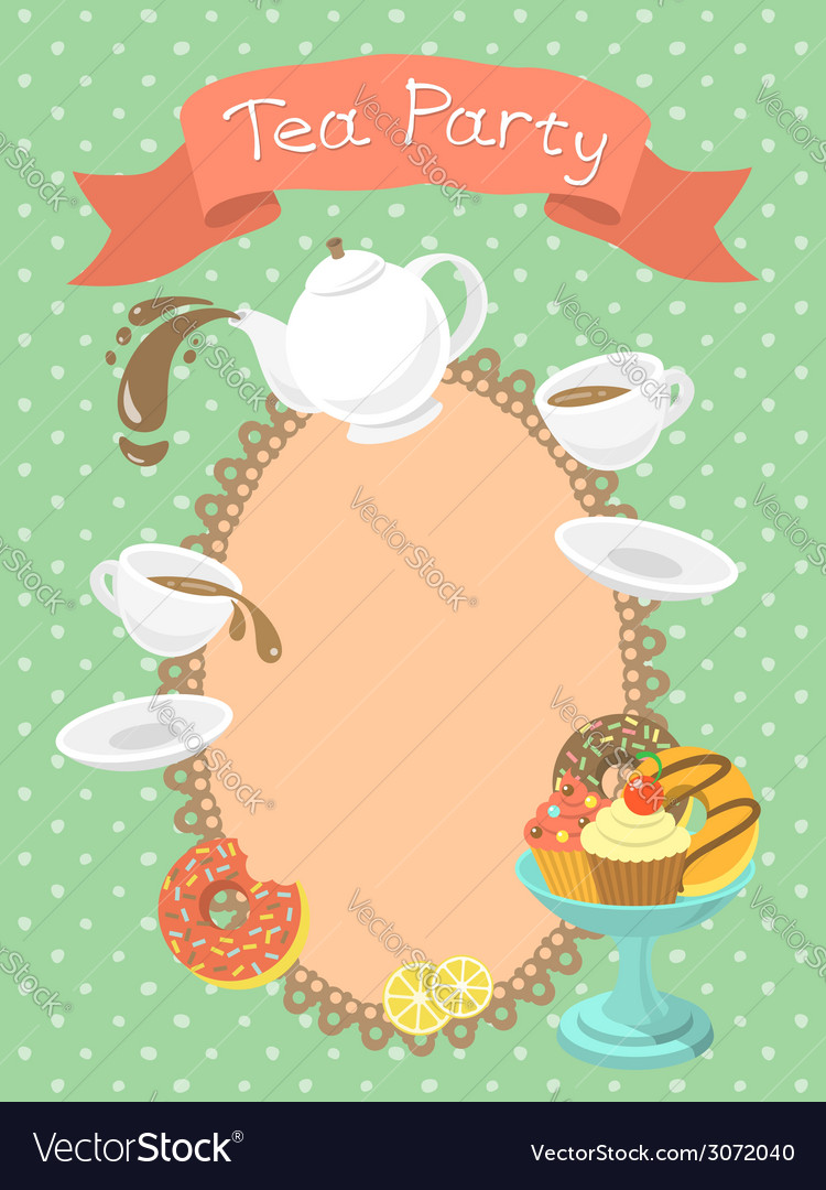 Tea party invitation vector | Price: 1 Credit (USD $1)
