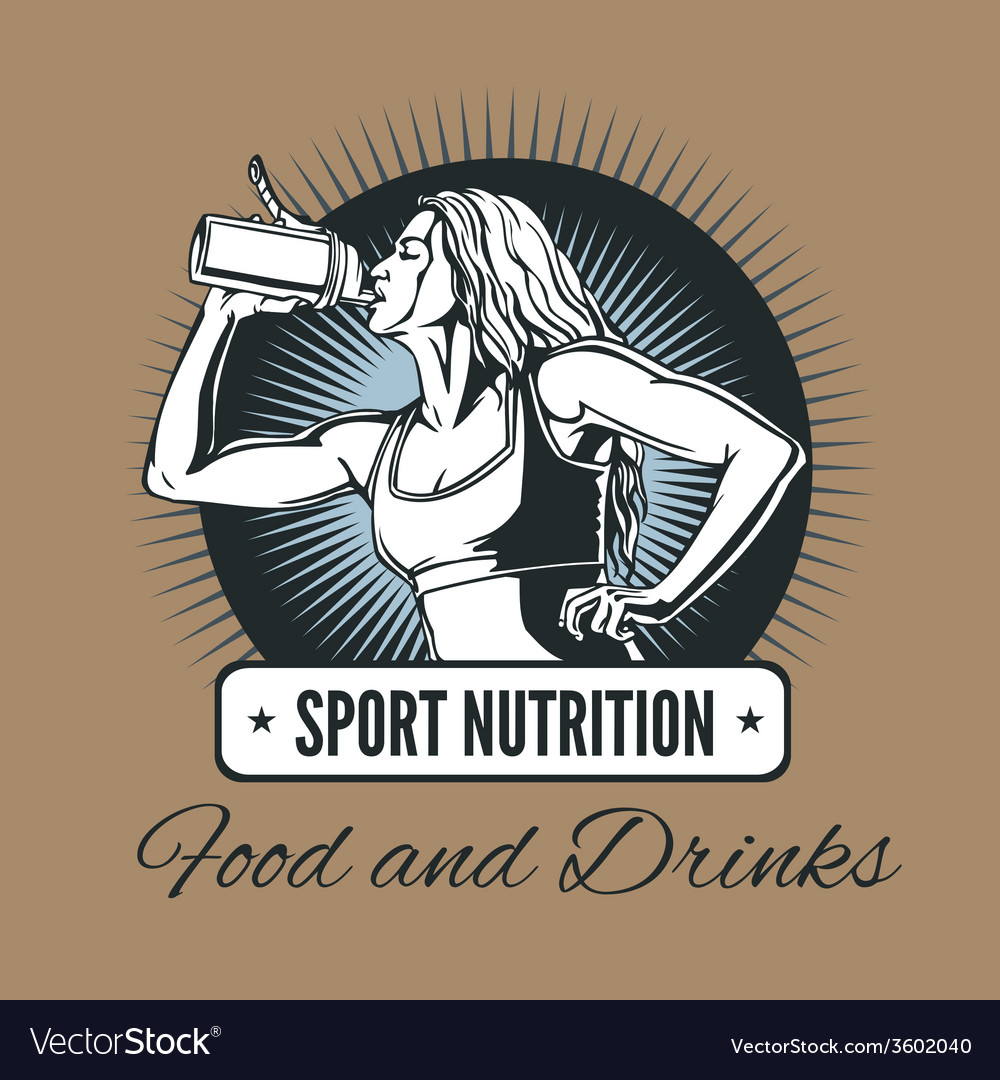 Woman drinking from a shaker - sports nutrition vector | Price: 1 Credit (USD $1)