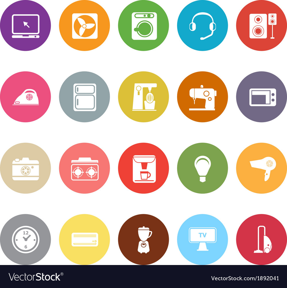 Electrical machine flat icons on white background vector | Price: 1 Credit (USD $1)