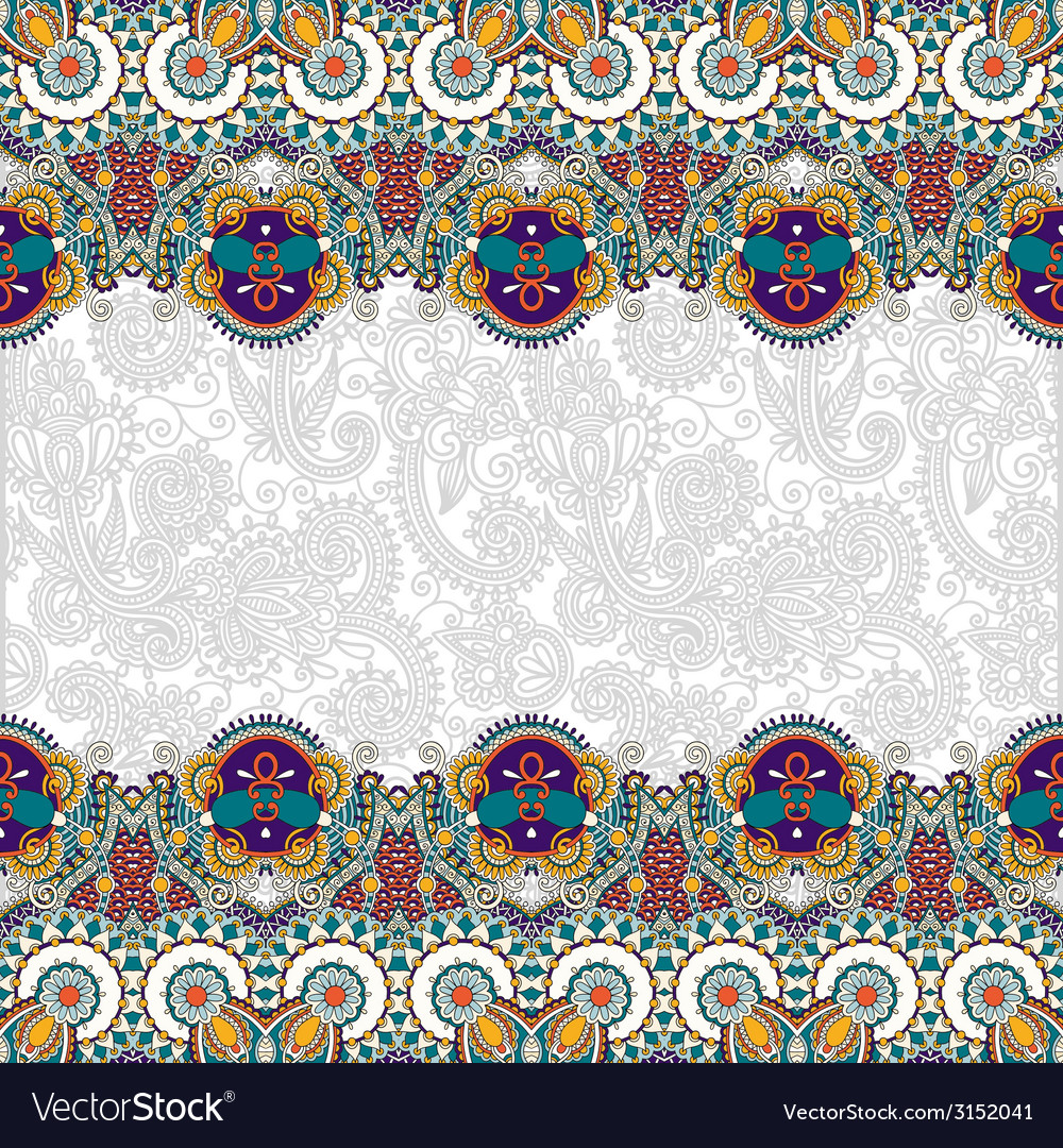 Ethnic stripe ornament on floral background vector | Price: 1 Credit (USD $1)