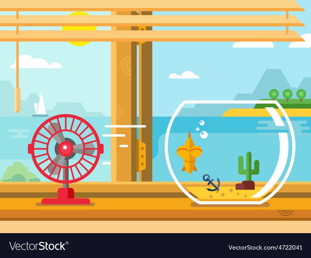 Fan and aquarium on windowsill next to open window vector | Price: 1 Credit (USD $1)