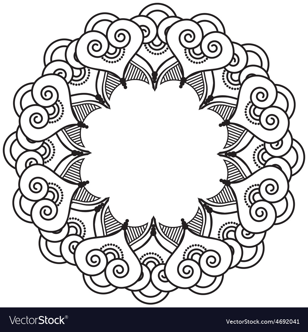Indian henna tattoo inspired heart shapes wreath 2 vector | Price: 1 Credit (USD $1)