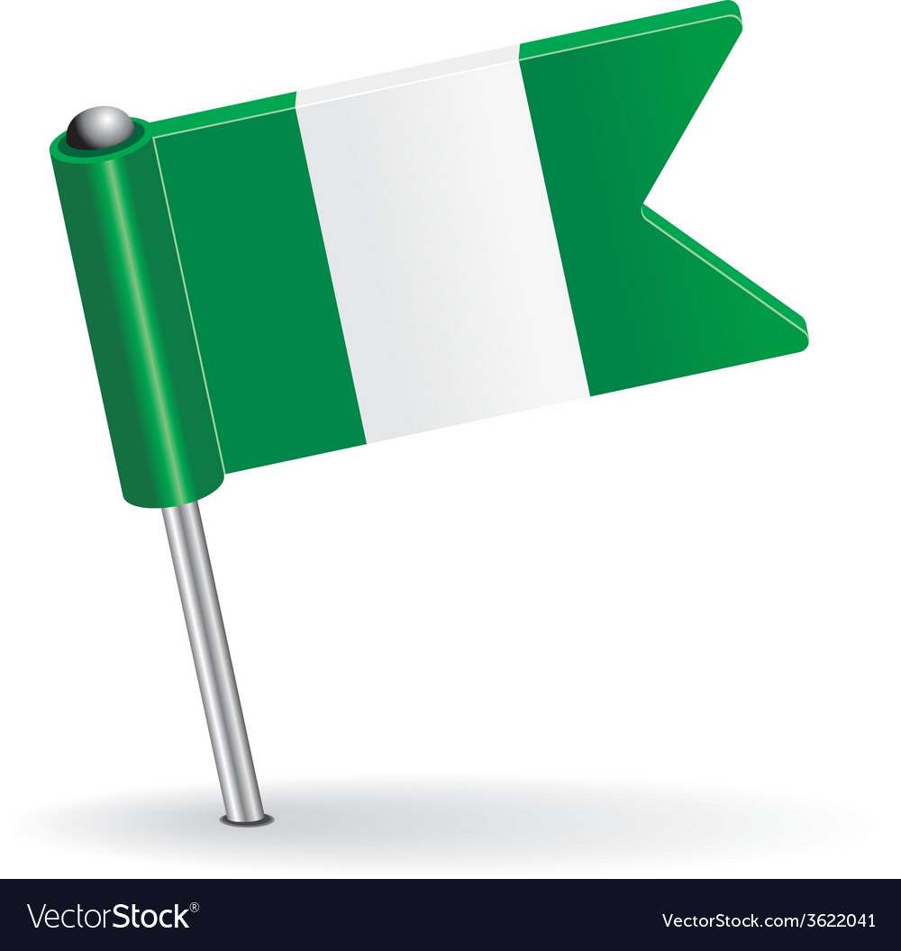 Nigerian pin icon flag vector | Price: 1 Credit (USD $1)