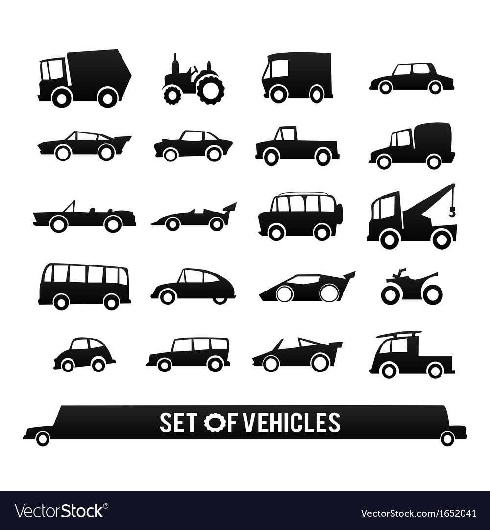 Set of vehicles cars icons set transport icons vector | Price: 1 Credit (USD $1)