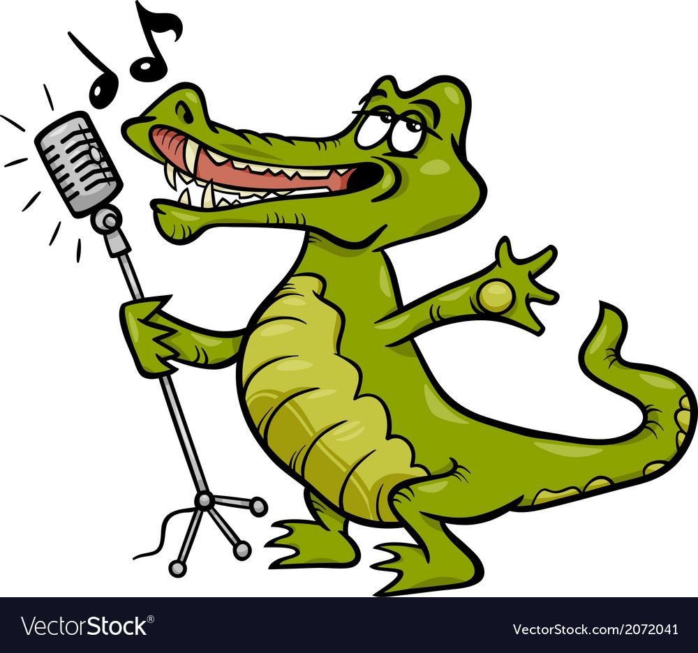 Singing crocodile cartoon vector | Price: 1 Credit (USD $1)