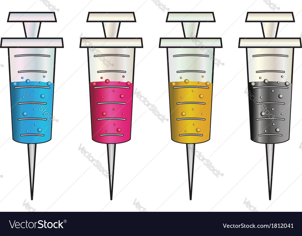 Syringes with colorful liquids vector | Price: 1 Credit (USD $1)