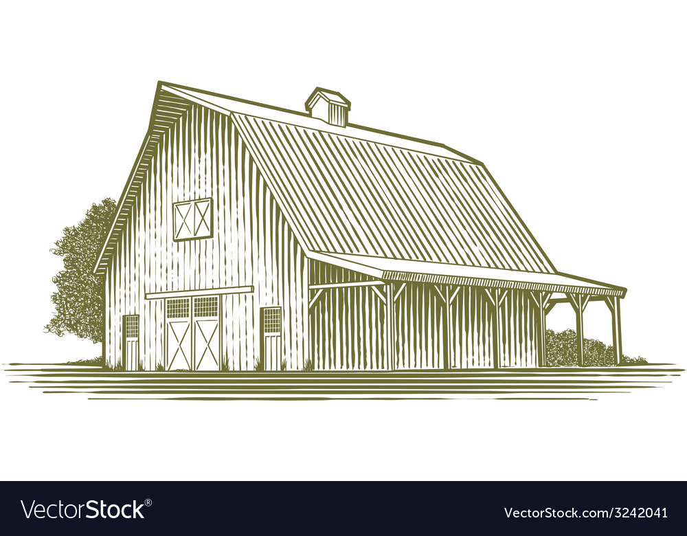 Woodcut barn icon vector
