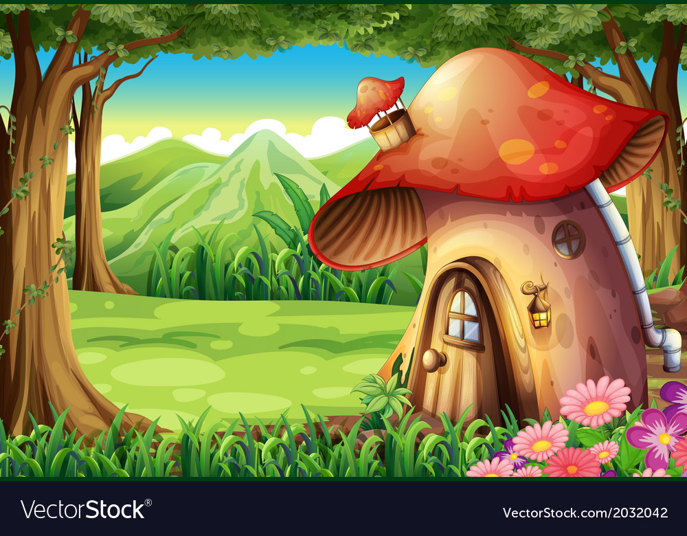 A forest with a mushroom house vector | Price: 3 Credit (USD $3)