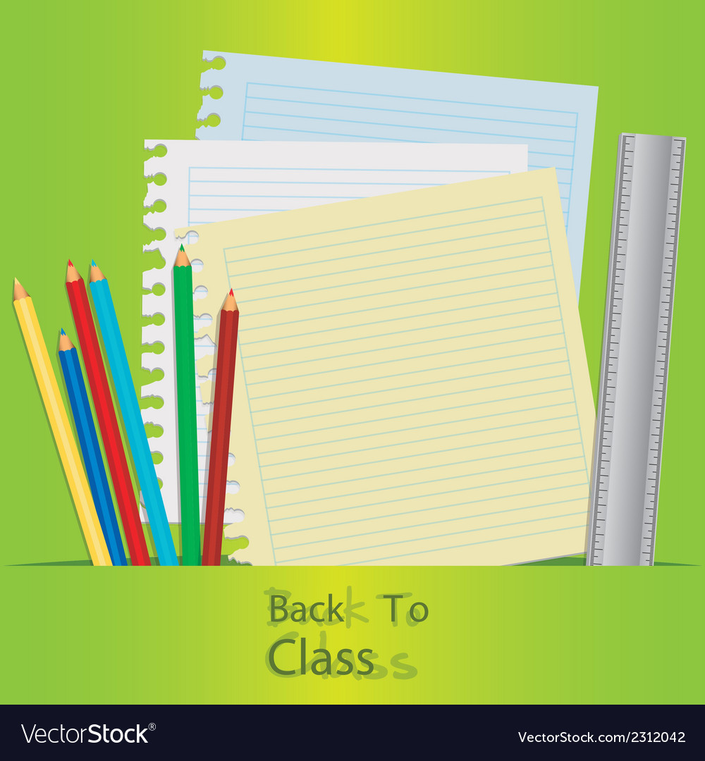 Back to class with school elements over green back vector | Price: 1 Credit (USD $1)