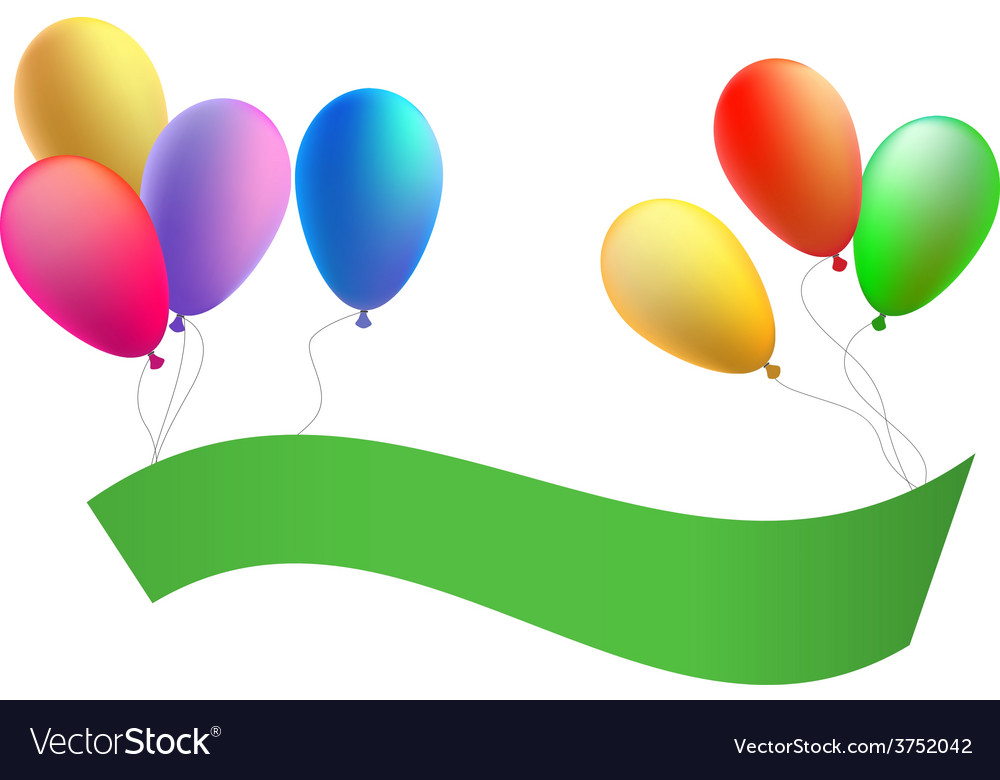 Balloons with a congratulation tape vector | Price: 1 Credit (USD $1)