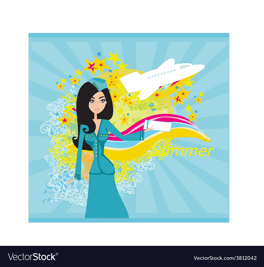 Beautiful stewardess with ticket vector   Price: 1 Credit (USD $1)