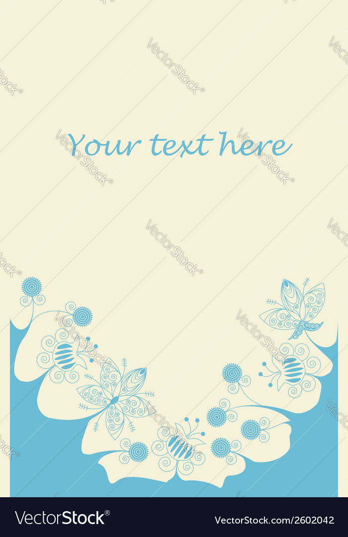 Blue flowers bottom frame vector   Price: 1 Credit (USD $1)