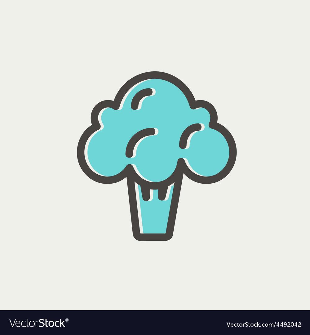 Broccoli thin line icon vector | Price: 1 Credit (USD $1)