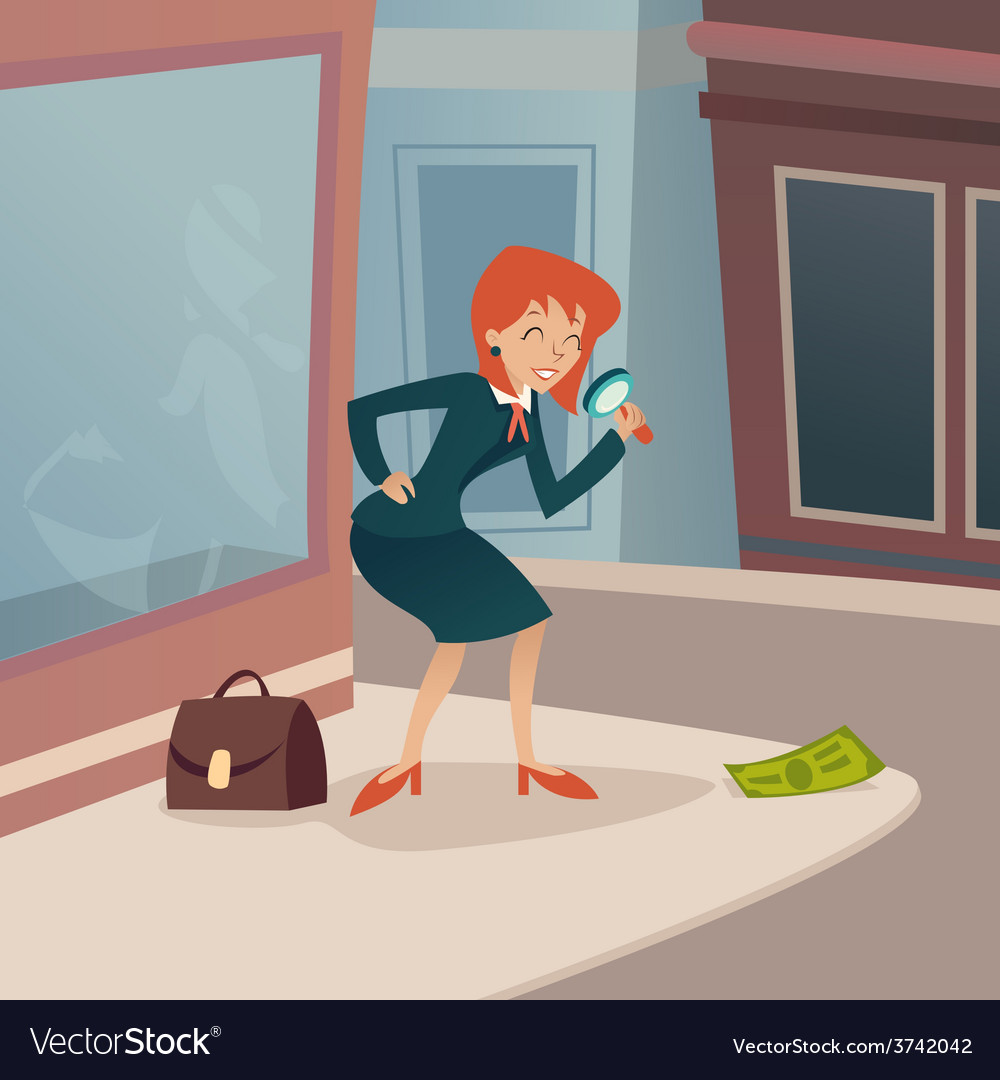 Businesswoman character with magnifying glass and vector | Price: 1 Credit (USD $1)