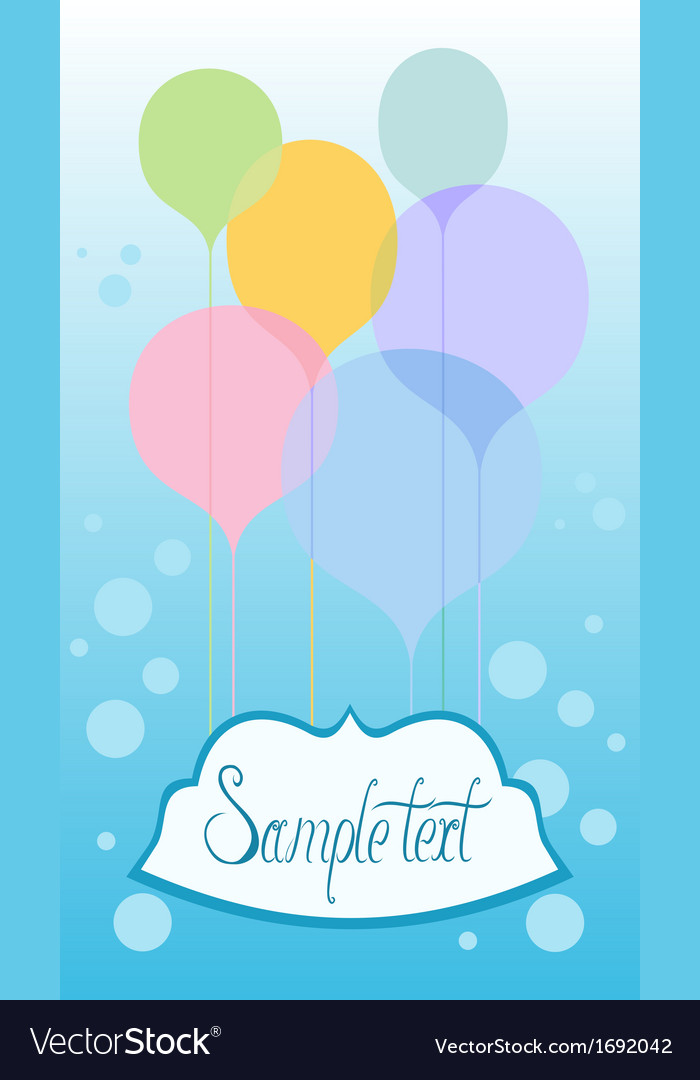 Celebration card with balloons vector | Price: 1 Credit (USD $1)