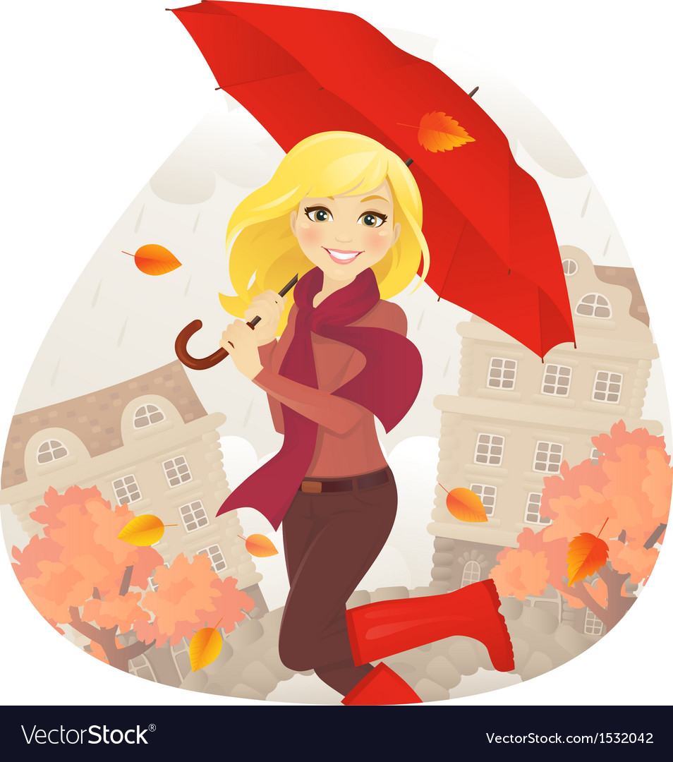 Girl in fall vector | Price: 3 Credit (USD $3)