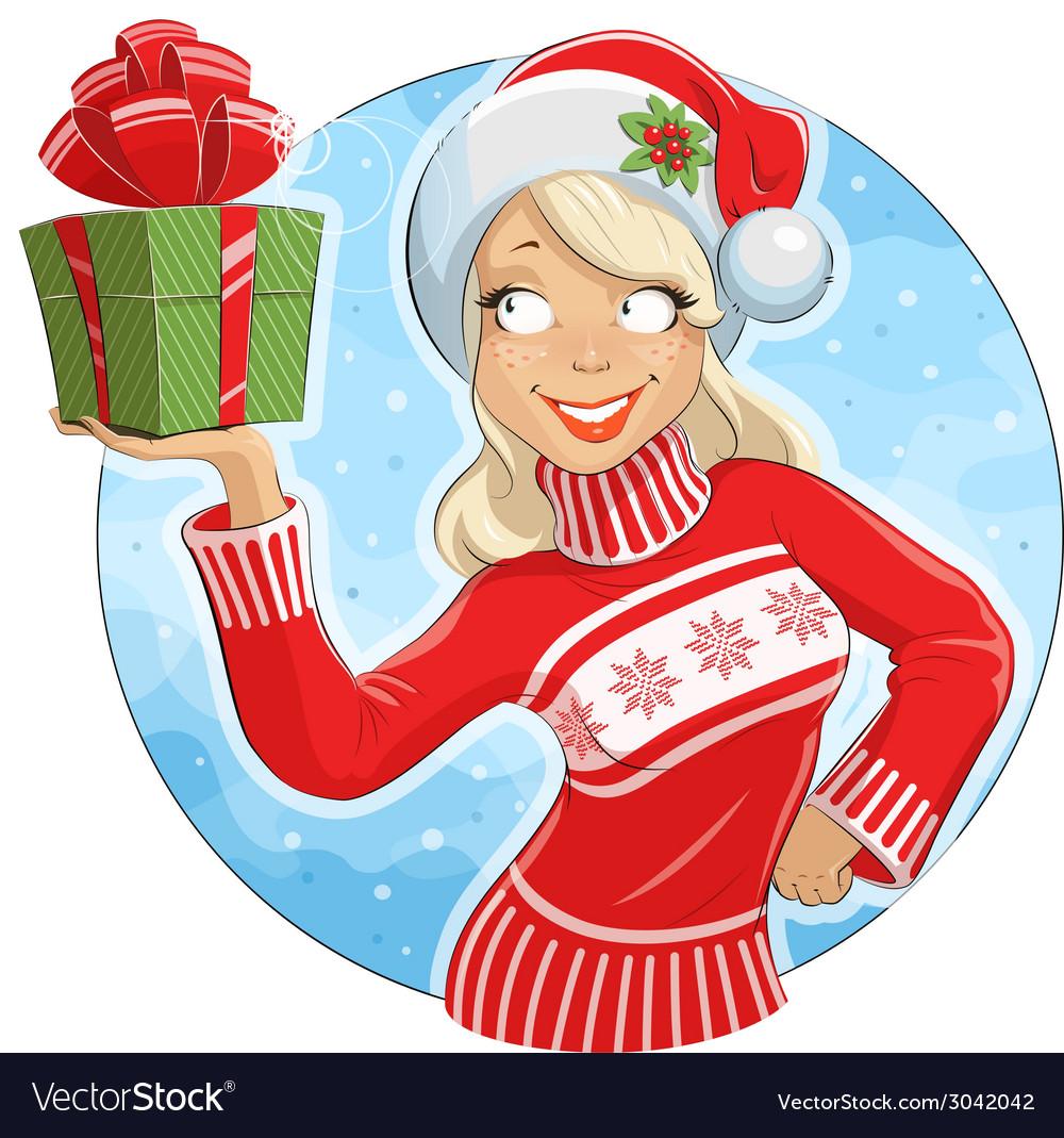 Girl in santa claus costume vector | Price: 3 Credit (USD $3)