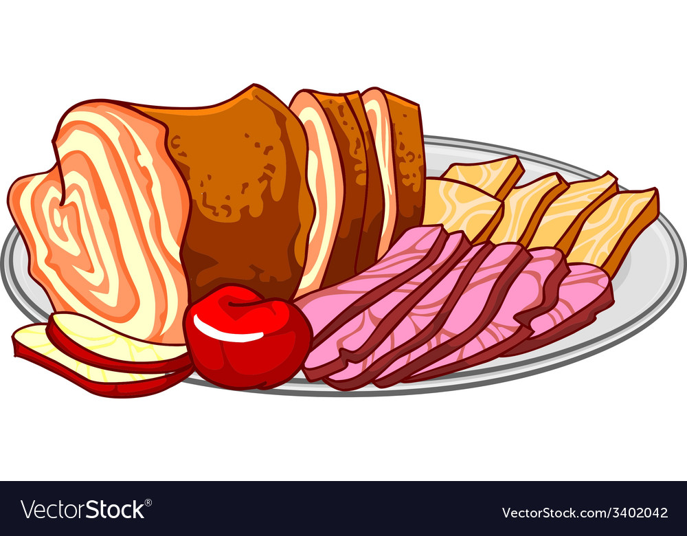 Ham cold cuts on a platter vector | Price: 1 Credit (USD $1)