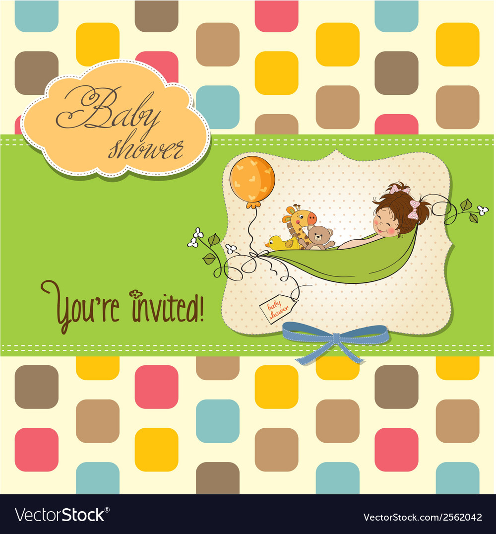 Little girl siting in a pea been baby announcement vector | Price: 1 Credit (USD $1)
