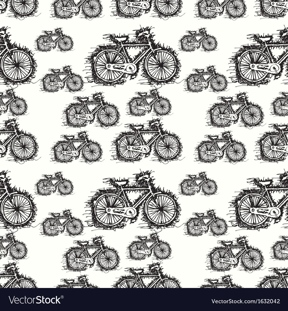 Seamless pattern of sketch bicycle vector | Price: 1 Credit (USD $1)