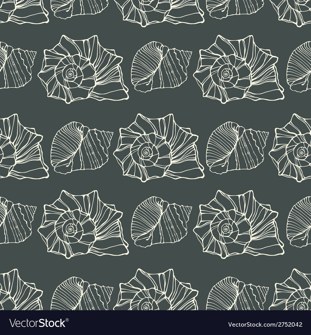 Seamless pattern with outline decorative seashells vector | Price: 1 Credit (USD $1)