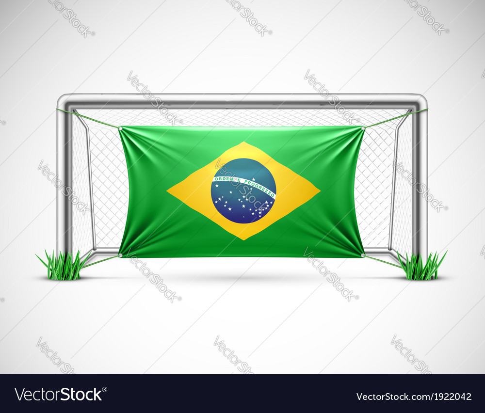 Soccer goal with flag brazil vector   Price: 1 Credit (USD $1)
