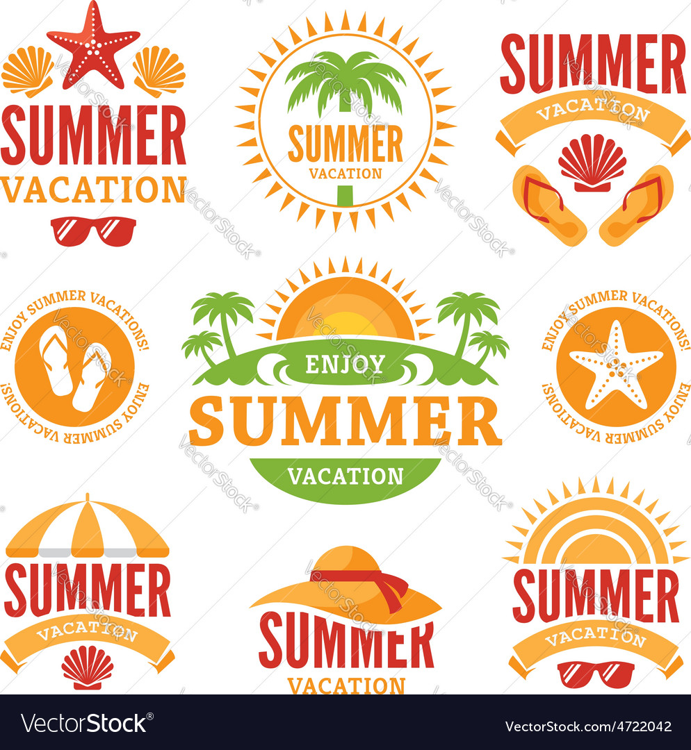 Summer holidays labels vector | Price: 1 Credit (USD $1)