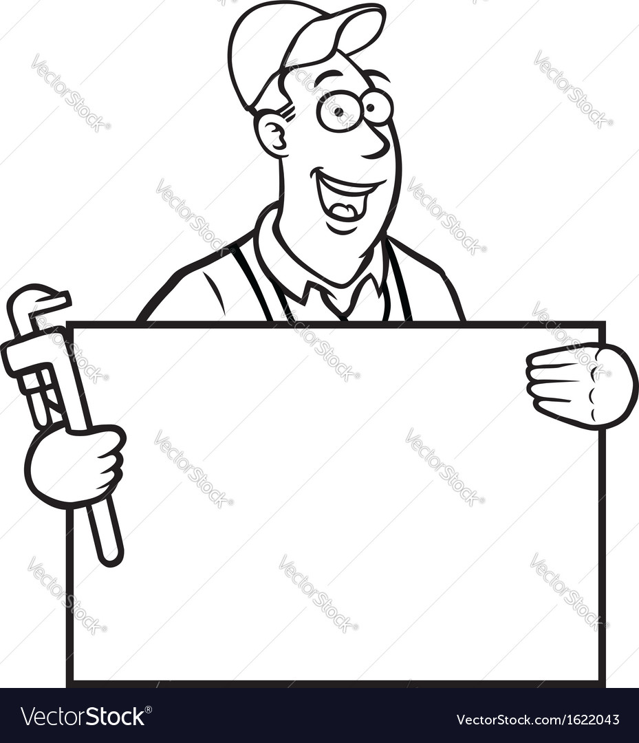Black and white plumber with sign vector | Price: 1 Credit (USD $1)