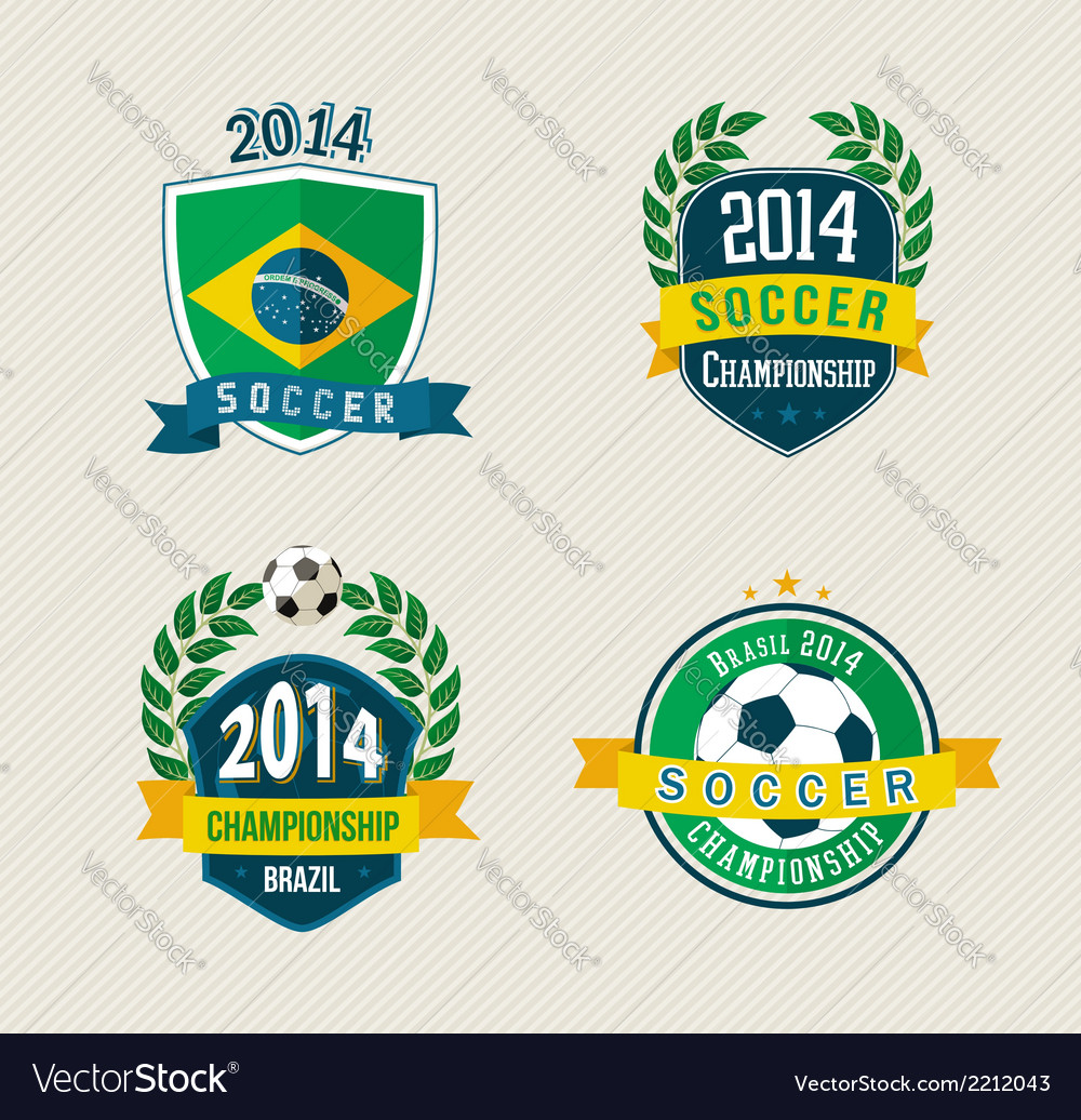 Brazil soccer vintage labels set vector | Price: 1 Credit (USD $1)