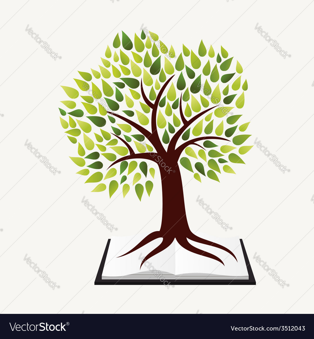 Education concept tree book vector | Price: 1 Credit (USD $1)