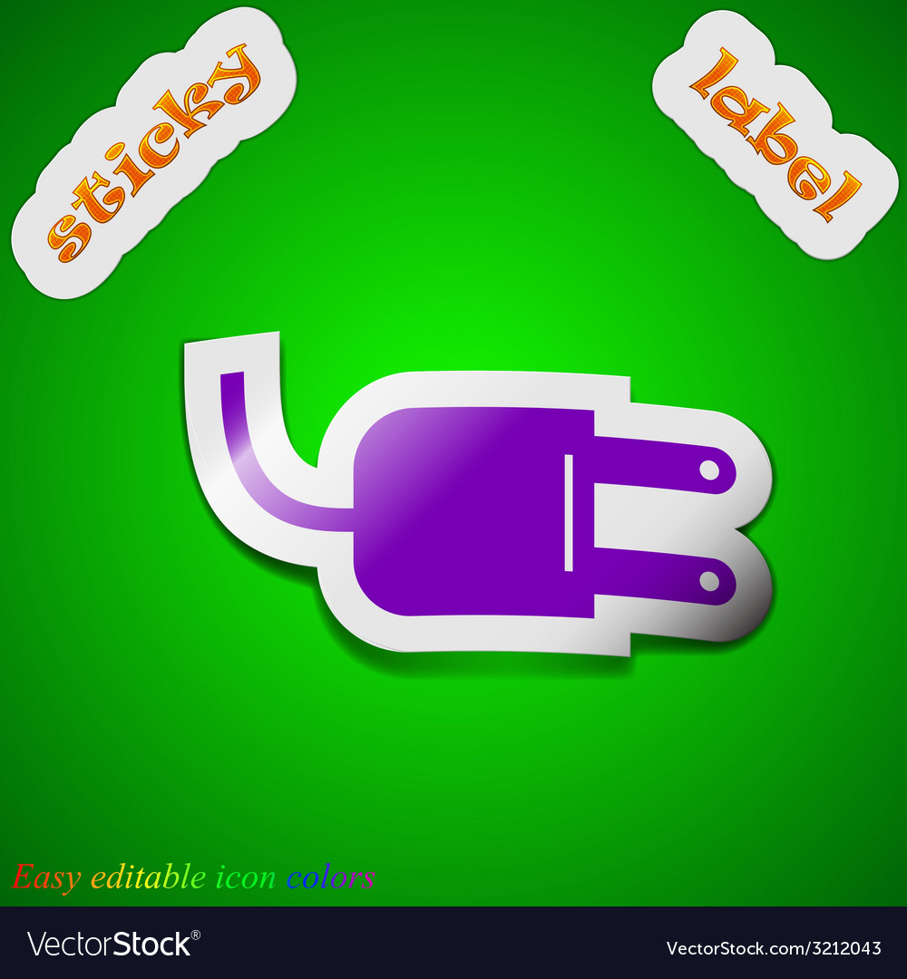 Electric plug icon sign symbol chic colored sticky vector | Price: 1 Credit (USD $1)