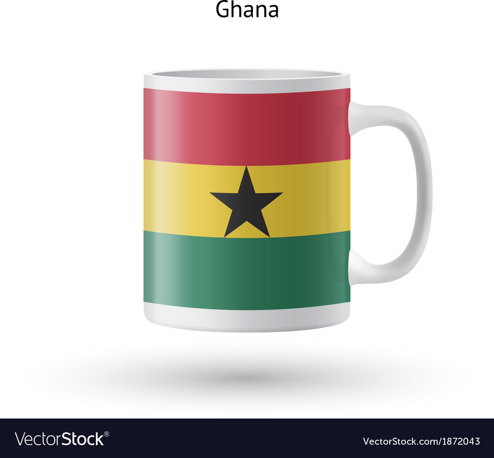 Ghana flag souvenir mug on white background vector | Price: 1 Credit (USD $1)
