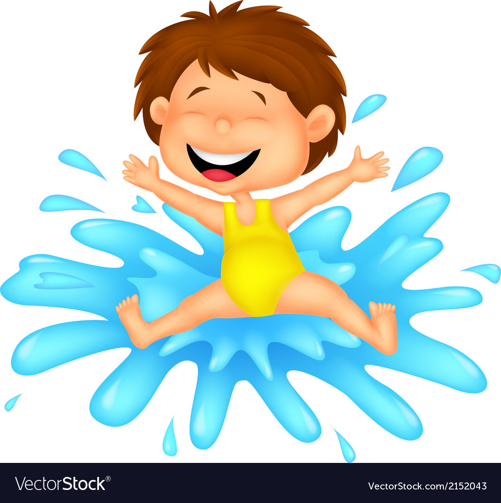 Girl cartoon jumping to the water vector | Price: 1 Credit (USD $1)