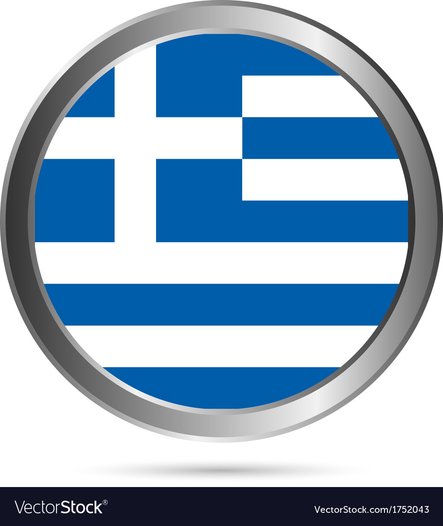 Greece flag button vector | Price: 1 Credit (USD $1)