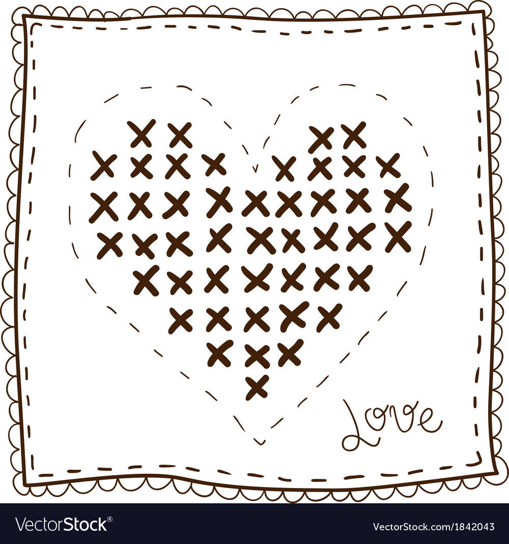 Handkerchief with embroidery heart vector | Price: 1 Credit (USD $1)