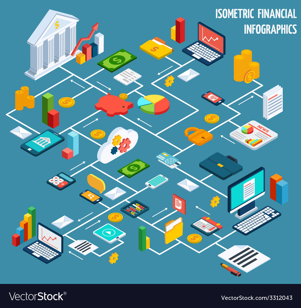 Isometric financial flowchart vector | Price: 1 Credit (USD $1)