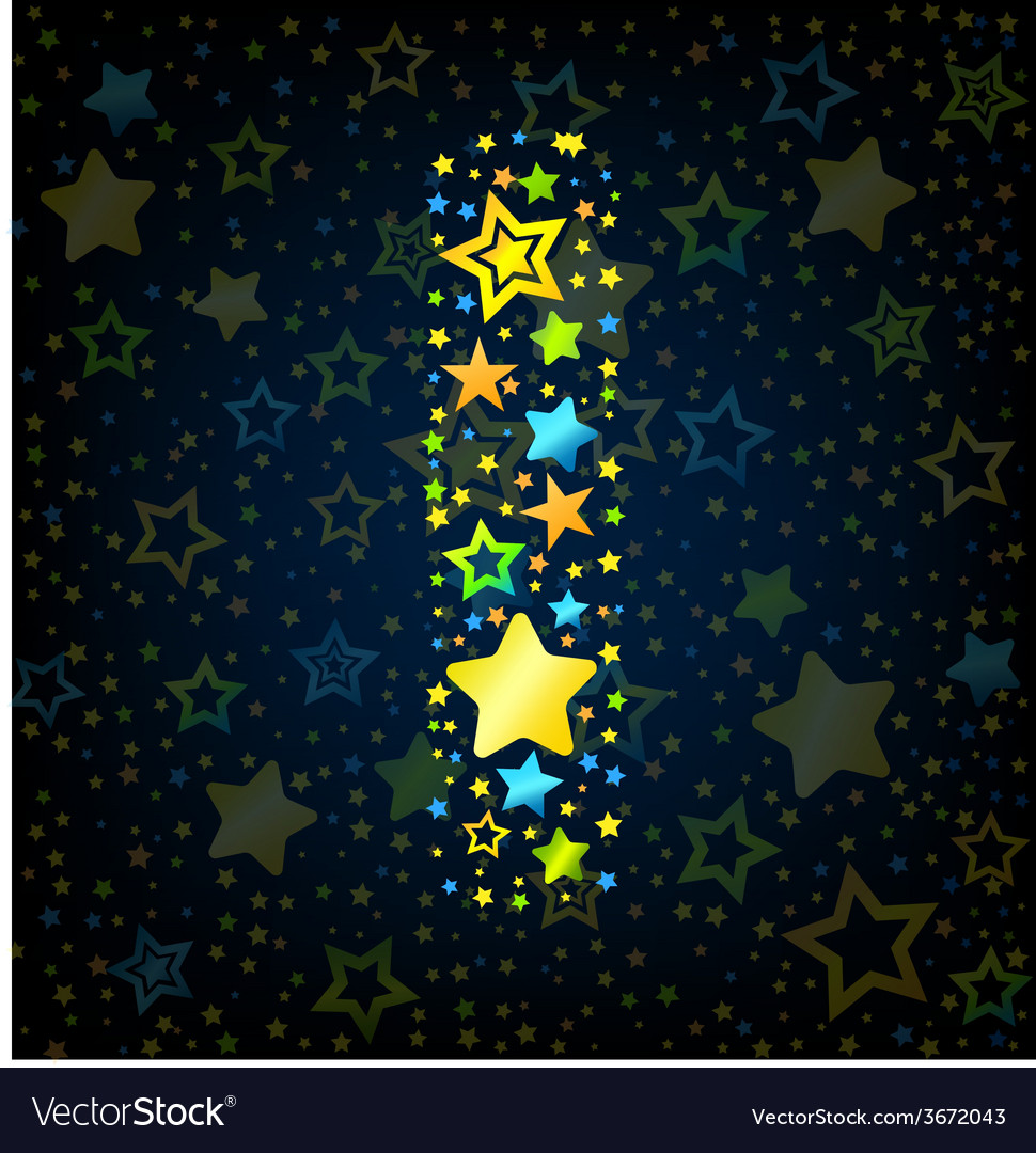 Letter i cartoon star colored vector | Price: 1 Credit (USD $1)
