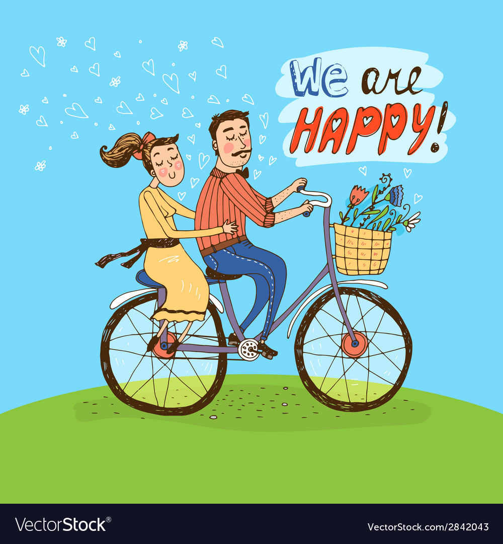 Loving couple riding on a bicycle vector | Price: 1 Credit (USD $1)