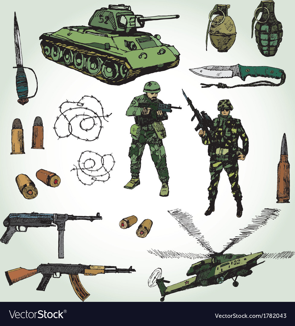 Military doodles colorful vector | Price: 1 Credit (USD $1)
