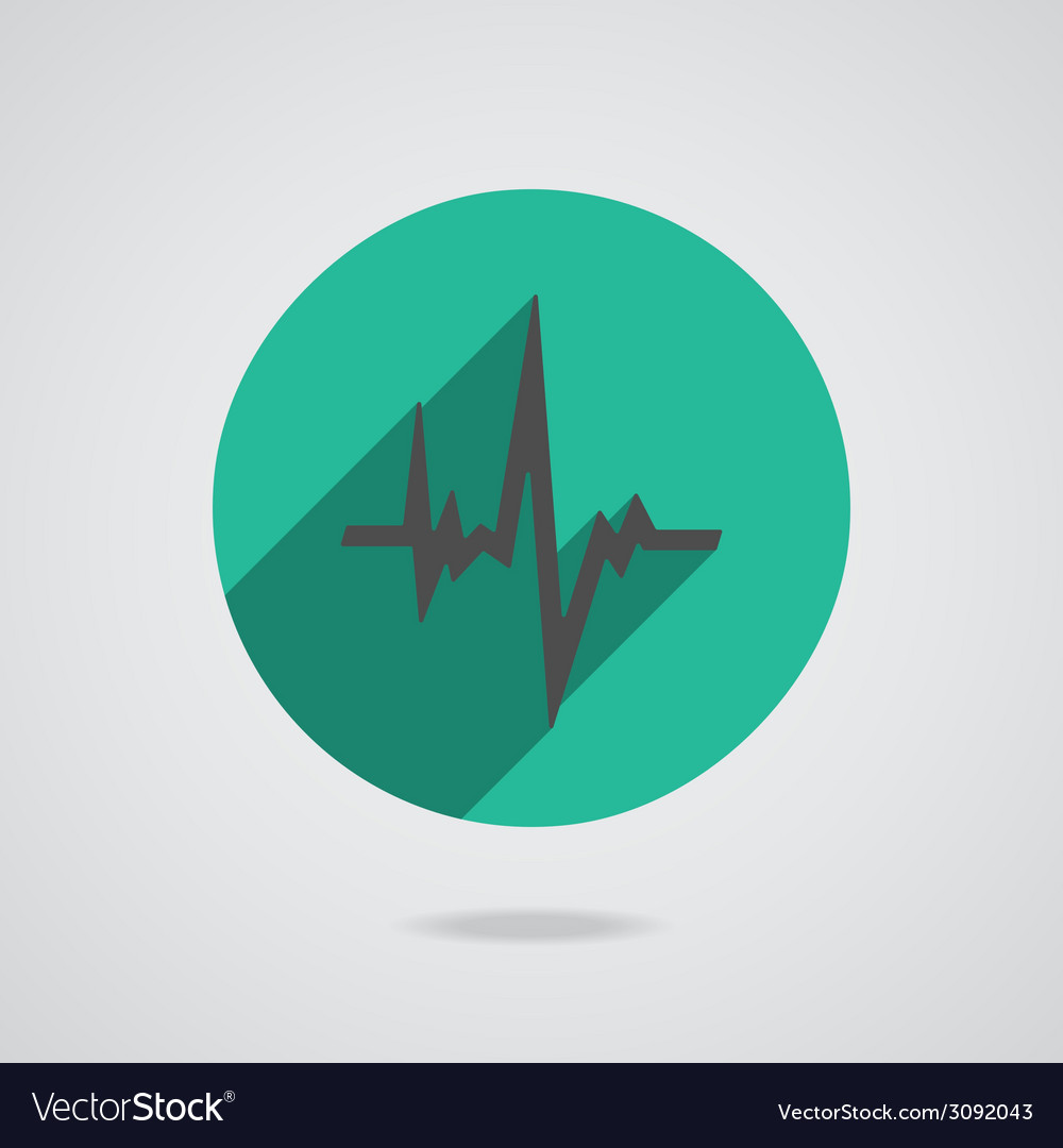Pulse heart rate black icon in flat style vector | Price: 1 Credit (USD $1)